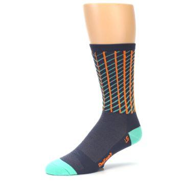 Image of Gray Orange Net Pattern Men's Crew Athletic Socks (side-2-09)