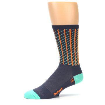 Image of Gray Orange Net Pattern Men's Crew Athletic Socks (side-2-10)