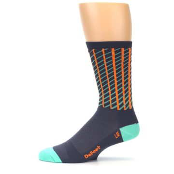 Image of Gray Orange Net Pattern Men's Crew Athletic Socks (side-2-11)