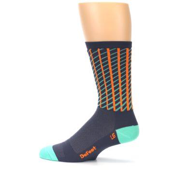 Image of Gray Orange Net Pattern Men's Crew Athletic Socks (side-2-12)