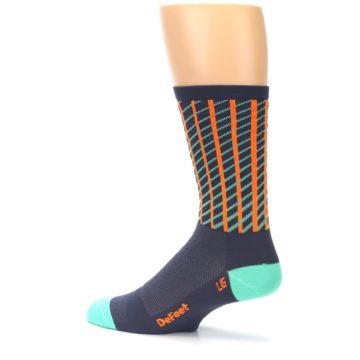 Image of Gray Orange Net Pattern Men's Crew Athletic Socks (side-2-13)