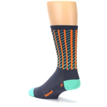 Image of Gray Orange Net Pattern Men's Crew Athletic Socks (side-2-back-14)