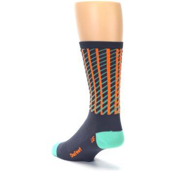 Image of Gray Orange Net Pattern Men's Crew Athletic Socks (side-2-back-15)