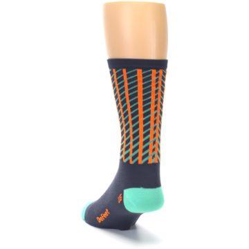 Image of Gray Orange Net Pattern Men's Crew Athletic Socks (side-2-back-16)