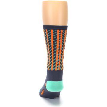 Image of Gray Orange Net Pattern Men's Crew Athletic Socks (back-17)