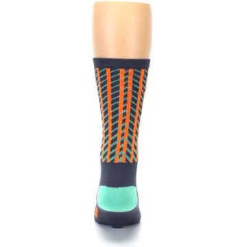 Image of Gray Orange Net Pattern Men's Crew Athletic Socks (back-18)