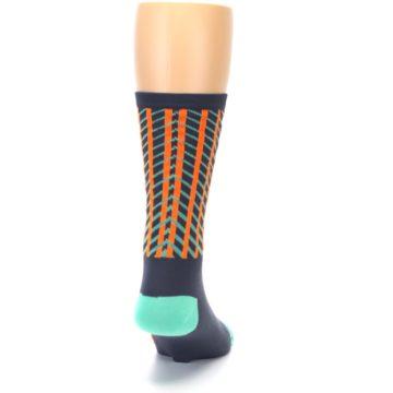 Image of Gray Orange Net Pattern Men's Crew Athletic Socks (back-19)