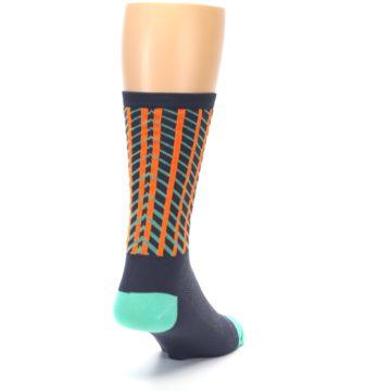 Image of Gray Orange Net Pattern Men's Crew Athletic Socks (side-1-back-20)
