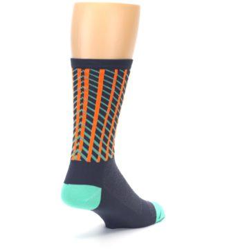 Image of Gray Orange Net Pattern Men's Crew Athletic Socks (side-1-back-21)
