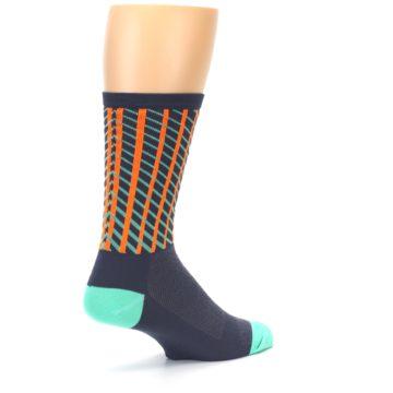 Image of Gray Orange Net Pattern Men's Crew Athletic Socks (side-1-back-22)
