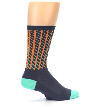 Image of Gray Orange Net Pattern Men's Crew Athletic Socks (side-1-23)