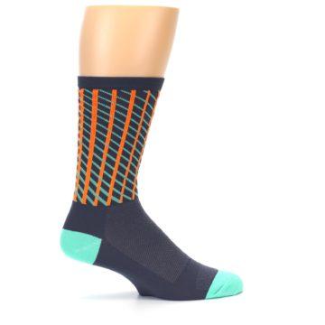 Image of Gray Orange Net Pattern Men's Crew Athletic Socks (side-1-24)