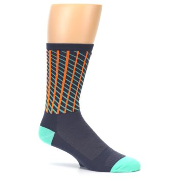 Image of Gray Orange Net Pattern Men's Crew Athletic Socks (side-1-25)