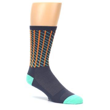 Image of Gray Orange Net Pattern Men's Crew Athletic Socks (side-1-26)