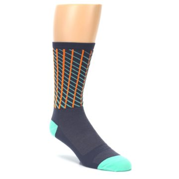 Image of Gray Orange Net Pattern Men's Crew Athletic Socks (side-1-27)