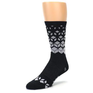 Image of Black White Cubes Men's Crew Athletic Socks (side-2-front-08)