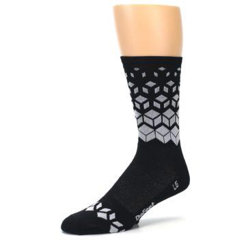 Image of Black White Cubes Men's Crew Athletic Socks (side-2-09)