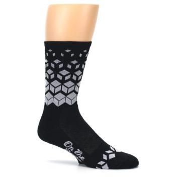 Image of Black White Cubes Men's Crew Athletic Socks (side-1-25)