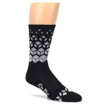 Image of Black White Cubes Men's Crew Athletic Socks (side-1-26)