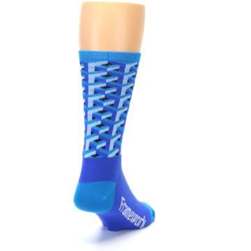 Image of Blue Framework Optical Men's Crew Athletic Socks (side-1-back-20)