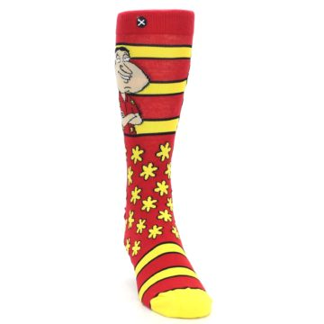 Image of Red Yellow Family Guy Quagmire Men's Casual Socks (side-1-front-03)