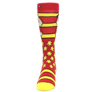 Image of Red Yellow Family Guy Quagmire Men's Casual Socks (front-05)