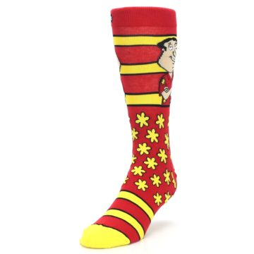 Image of Red Yellow Family Guy Quagmire Men's Casual Socks (side-2-front-07)