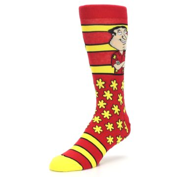 Image of Red Yellow Family Guy Quagmire Men's Casual Socks (side-2-front-08)