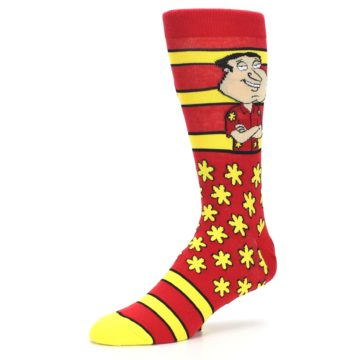 Image of Red Yellow Family Guy Quagmire Men's Casual Socks (side-2-09)
