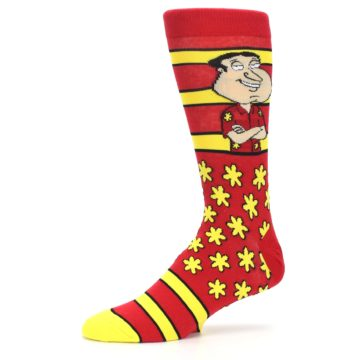 Image of Red Yellow Family Guy Quagmire Men's Casual Socks (side-2-10)