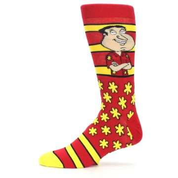 Image of Red Yellow Family Guy Quagmire Men's Casual Socks (side-2-11)