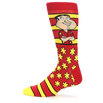 Image of Red Yellow Family Guy Quagmire Men's Casual Socks (side-2-12)