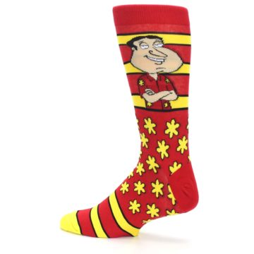 Image of Red Yellow Family Guy Quagmire Men's Casual Socks (side-2-13)