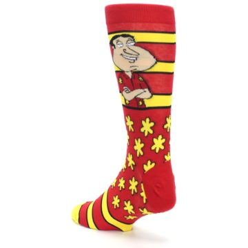 Image of Red Yellow Family Guy Quagmire Men's Casual Socks (side-2-back-15)