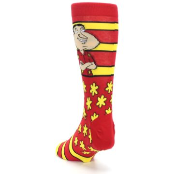 Image of Red Yellow Family Guy Quagmire Men's Casual Socks (side-2-back-16)