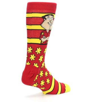 Image of Red Yellow Family Guy Quagmire Men's Casual Socks (side-1-back-22)