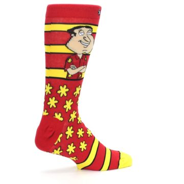 Image of Red Yellow Family Guy Quagmire Men's Casual Socks (side-1-23)