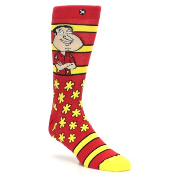 Image of Red Yellow Family Guy Quagmire Men's Casual Socks (side-1-27)