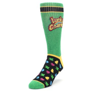 Image of Green Multi Lucky Charms Men's Casual Socks (side-2-front-07)