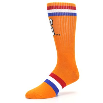 Image of Orange Wheaties Cereal Men's Casual Socks (side-2-09)