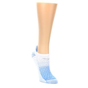 Image of Sky Blue White Stripe Women's No-Show Tab Athletic Socks (side-1-front-02)