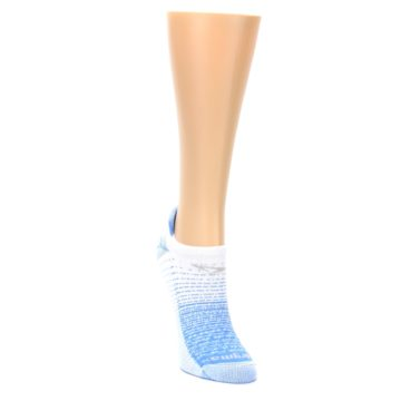 Image of Sky Blue White Stripe Women's No-Show Tab Athletic Socks (side-1-front-03)