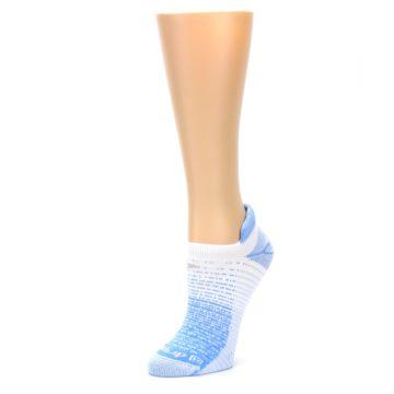 Image of Sky Blue White Stripe Women's No-Show Tab Athletic Socks (side-2-09)