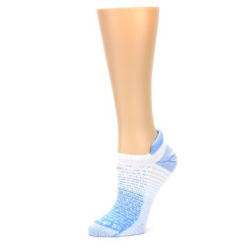 Image of Sky Blue White Stripe Women's No-Show Tab Athletic Socks (side-2-10)