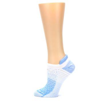 Image of Sky Blue White Stripe Women's No-Show Tab Athletic Socks (side-2-12)
