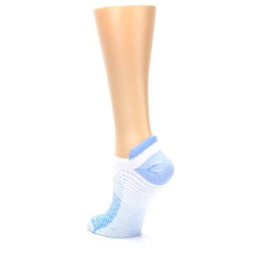 Image of Sky Blue White Stripe Women's No-Show Tab Athletic Socks (side-2-back-15)
