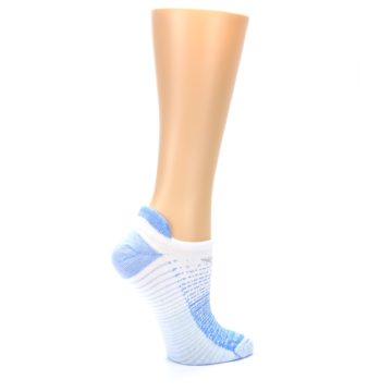 Image of Sky Blue White Stripe Women's No-Show Tab Athletic Socks (side-1-24)