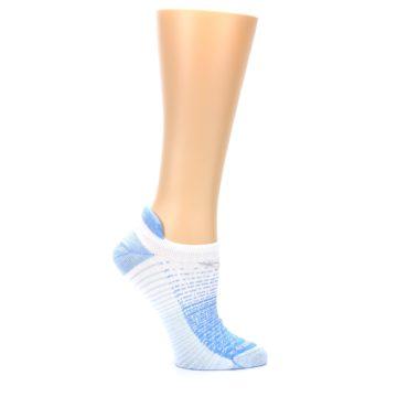 Image of Sky Blue White Stripe Women's No-Show Tab Athletic Socks (side-1-25)