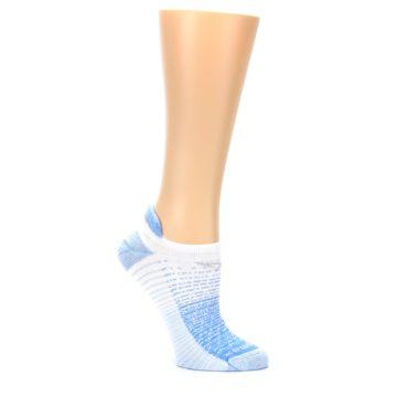 Image of Sky Blue White Stripe Women's No-Show Tab Athletic Socks (side-1-26)
