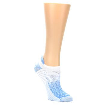 Image of Sky Blue White Stripe Women's No-Show Tab Athletic Socks (side-1-27)